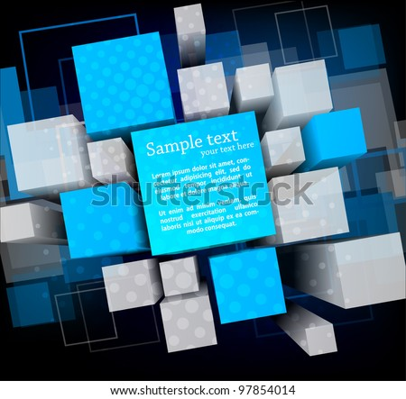 Abstract background with 3d cubes and squares - stock vector