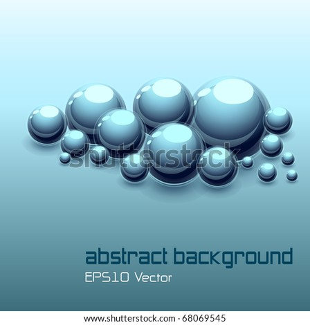 Abstract background with 3d spheres, vector.