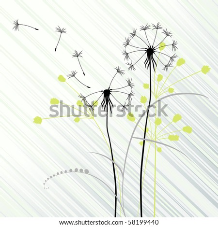 abstract background with dandelions - stock vector