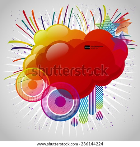 Abstract background with design elements. Cloud for your text, stars, speakers, raindrops. Vector illustration. - stock vector