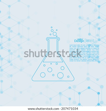 Abstract background with DNA molecule structure. genetic and chemical compounds. laboratory glass with chemical reaction. flask and bubbles - stock vector