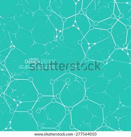 Abstract background with DNA strand, atom, molecule structure. genetic and chemical compounds. vector - stock vector