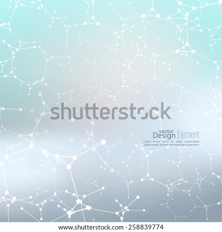 Abstract background with DNA strand molecule structure. genetic and chemical compounds. Blurry gradient background. - stock vector