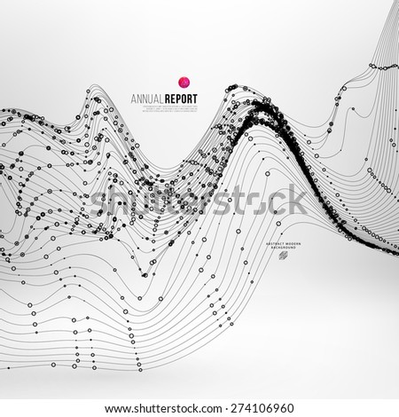 Abstract Background with Dots Array and Lines. Connection Structure. Geometric Modern Technology Concept. Digital Data Visualization. Abstract Infographic Concept - stock vector