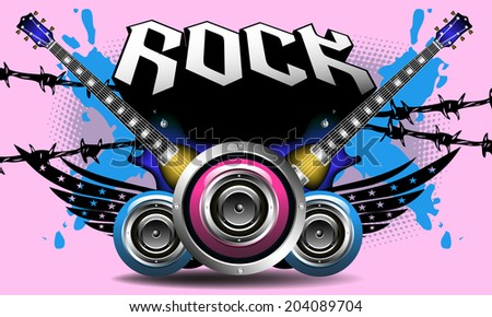 Abstract background with electric guitars, loudspeakers, barbed wire and the word rock written above with capital letters - stock vector