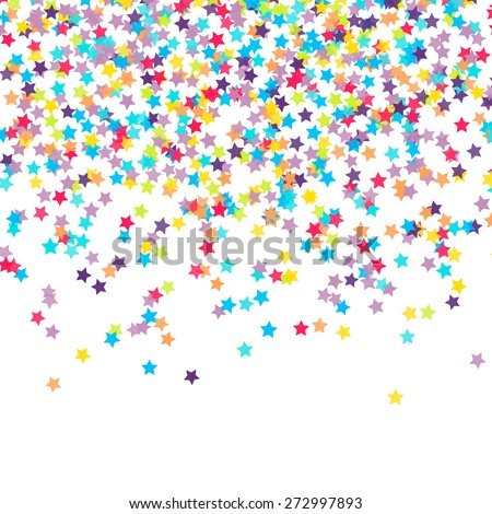 Abstract background with falling star-shaped confetti