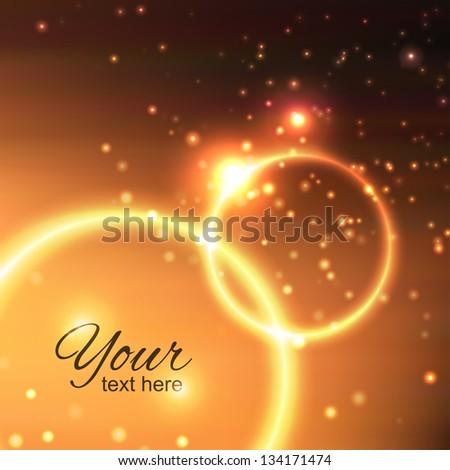 abstract background with fire circles and light particles - stock vector