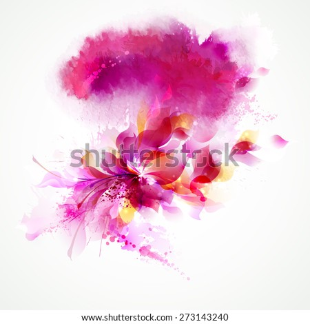 Abstract background with flower and design elements - stock vector