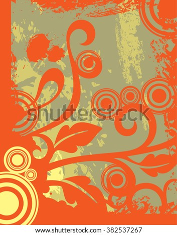 Abstract background with flower elements Orange with yellow and gray