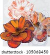 Abstract background with flowering roses, hand-drawing. Vector. - stock vector
