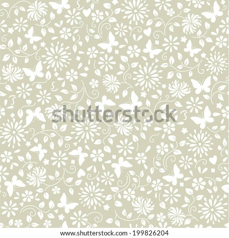 abstract background with flowers and butterflies - stock vector