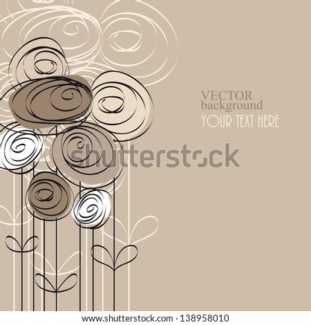 abstract background with flowers and place for text - stock vector