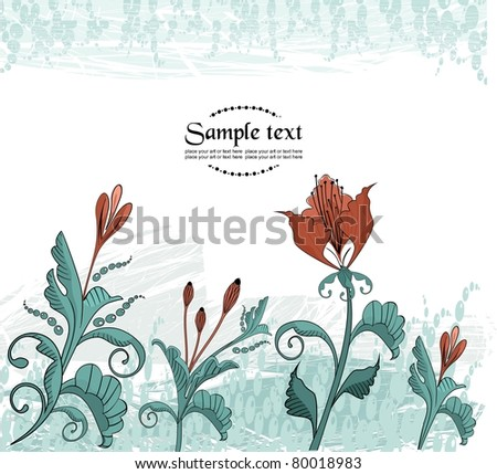 Abstract background with flowers in cartoon style - stock vector
