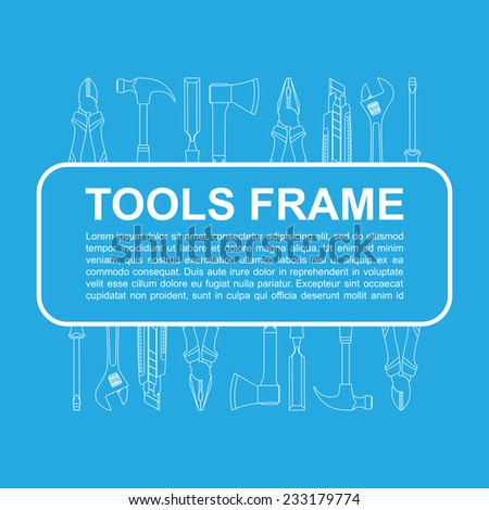 abstract background with frame with tools icons - stock vector