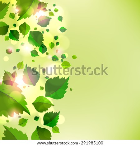 Abstract background with fresh green leaves. Vector - stock vector