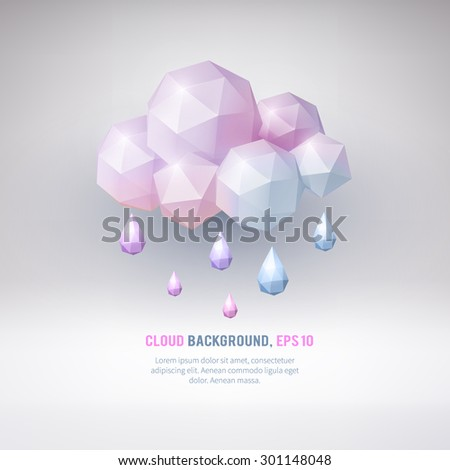 Abstract background with geometrical cloud.  Rain. Vector seasonal illustration. - stock vector