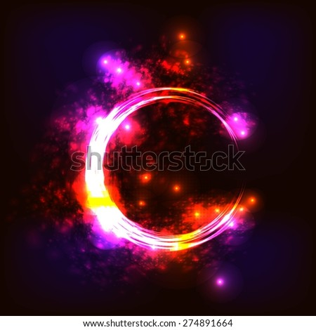 abstract background with glowing lines, circles and stars - stock vector