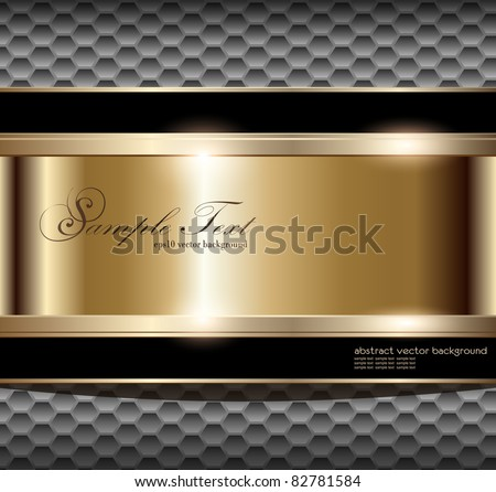 Abstract background with gold banner, vector illustration - stock vector
