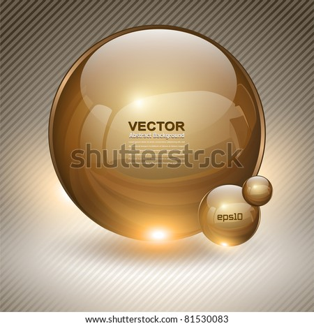 Abstract background with gold glass balls as vector speech bubble - stock vector