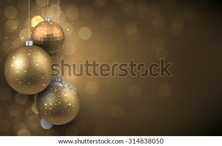 Abstract background with golden christmas balls and place for text. Vector illustration.