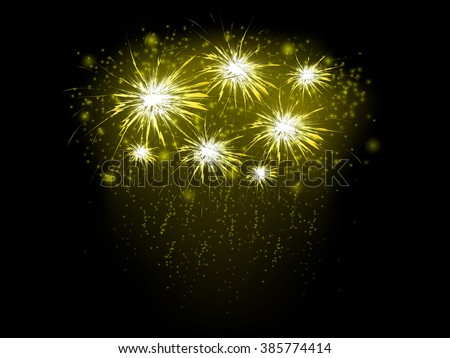 Abstract background with golden fireworks, vector illustration