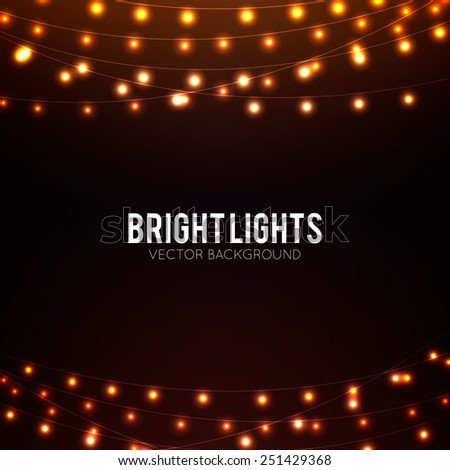 Abstract background with golden glowing lights - stock vector