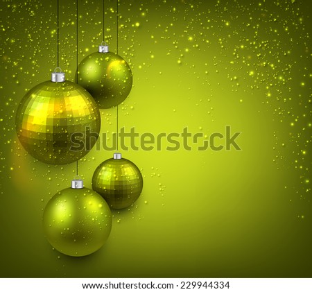 Abstract background with green christmas balls. Vector illustration.