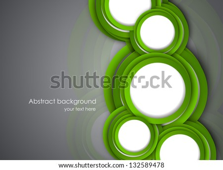Abstract background with green circles. Bright illustration - stock vector