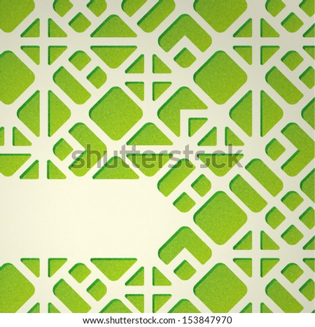 Abstract background with green geometric pattern - stock vector
