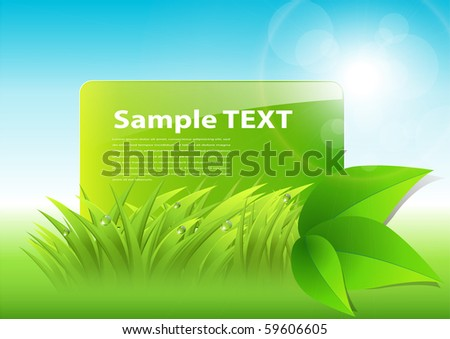 abstract background with green grass and leaves, vector - stock vector