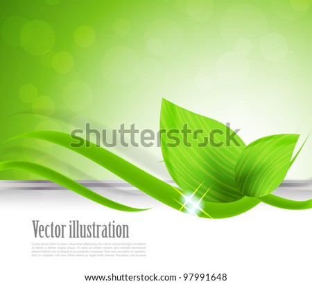 Abstract background with green leaves and wave