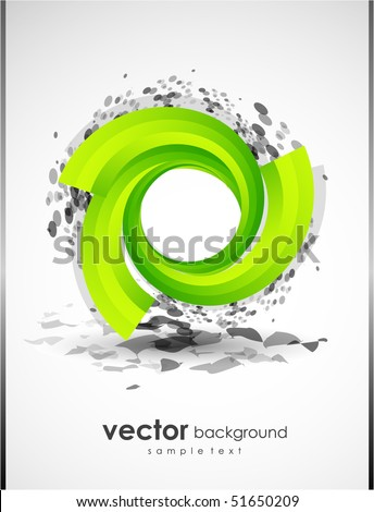 Abstract background with green shape - stock vector