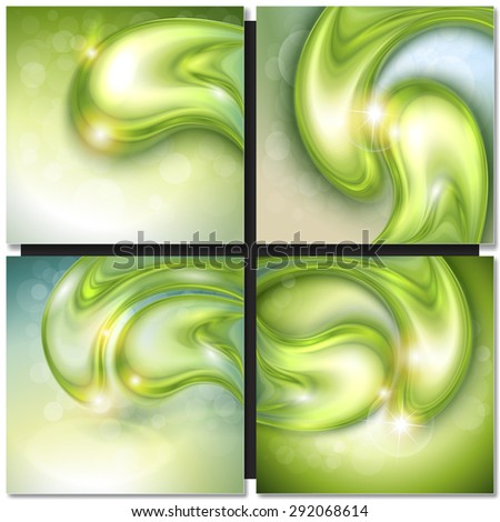 Abstract background with green water drops, vector. - stock vector