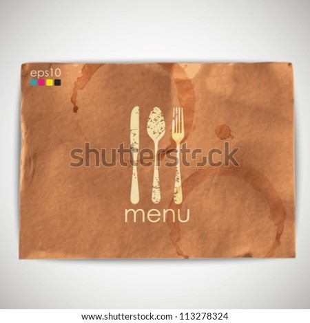 abstract background with grunge cardboard texture and menu sign - stock vector
