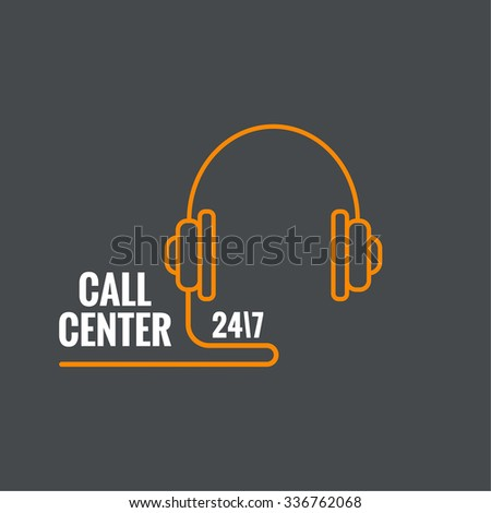 Abstract background with handphone. Icon. Call technical support. 24, 7. helpline, support service. Contacts. vector. Flat design. minimal, outline, pictogram  - stock vector