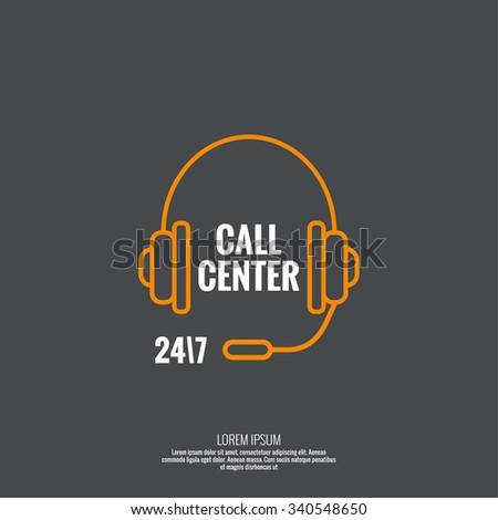 Abstract background with headphone. Icon. Call technical support. 24, 7. helpline, support service. Contacts. vector. minimal, outline, pictogram  - stock vector