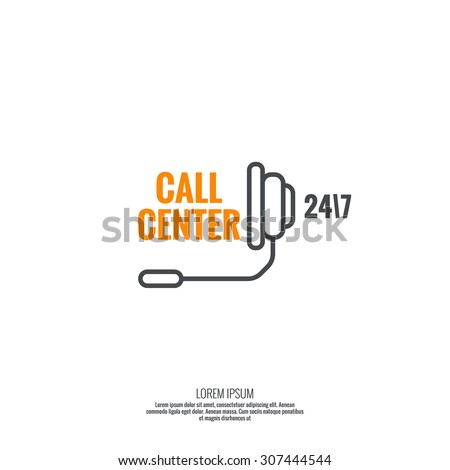 Abstract background with headset. Icon. Call technical support. 24, 7. helpline service. Contacts. vector.  minimal, outline - stock vector