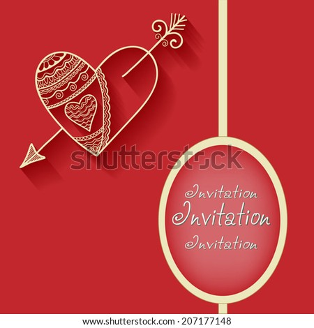 Abstract background with heart and arrow, frame border pattern, wedding invitation card design, geometric ornament, hand drawn artwork, vector illustration - stock vector
