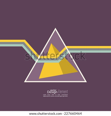 Abstract background with hipster triangles. A ray of light refracted in the prism. The physical phenomenon. For cover book, brochure, flyer, poster, magazine, cd cover design, T-shirt. yellow, purple  - stock vector