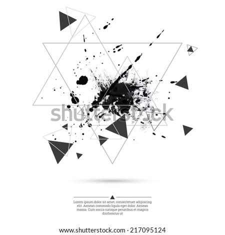 Abstract background with hipster triangles and ink splatter, black drop . Triangle pattern background. For cover book, brochure, flyer, poster, magazine, cd cover design, t-shirts design, print - stock vector