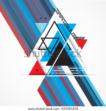 Abstract background with hipster triangles. Background with colorful abstract elements. Vector illustration.