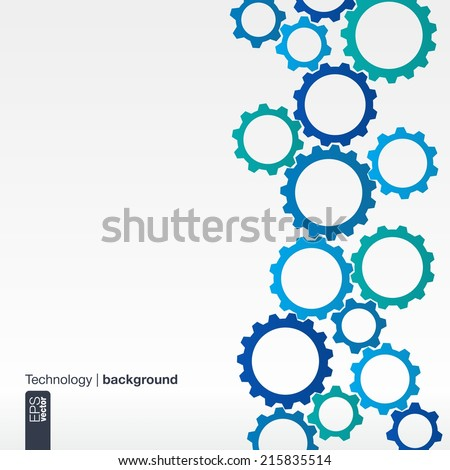 Abstract background with integrated gears for Business Company, digital, internet, network, connect, social media and global concepts. - stock vector