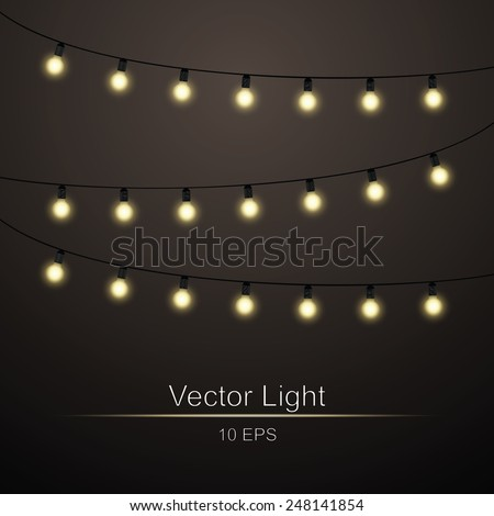 Abstract background with lights bright garlands - stock vector