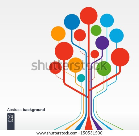 Abstract background with lines and circles. Growth tree concept for communication, business, social media, technology, network and web design. Vector illustration. - stock vector