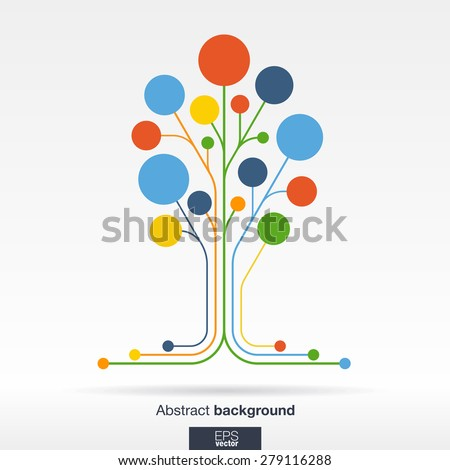 Abstract background with lines and color circles. Growth flower (tree) concept for communication, business, social media, technology, ecology, network and web design. Flat Vector illustration.