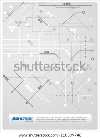 Abstract background with lines, circles and arrows similar to a subway map, with space for custom text. All elements are on separate layers for easy editing. - stock vector