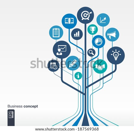Abstract background with lines, circles and flat icons. Growth tree concept for business, communication, marketing research, strategy, mission, analytics and web design. Vector illustration. - stock vector