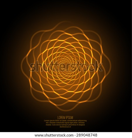 Abstract background with luminous fractal, geometry, mesh element. Intersection curves. Glowing mandala spiral. The energy flow - stock vector