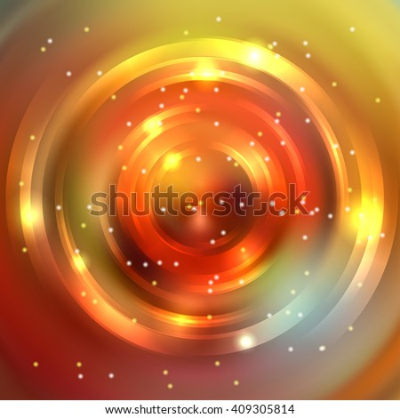Abstract background with luminous swirling backdrop. Shiny swirl background.  Intersection curves. Orange, brown, yellow colors.  - stock vector