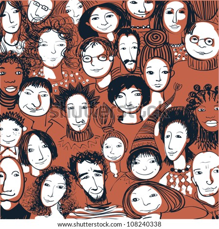 Abstract background with many people faces. Crowd retro color. - stock vector